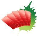 Icon of Sashimi with a leaf behind